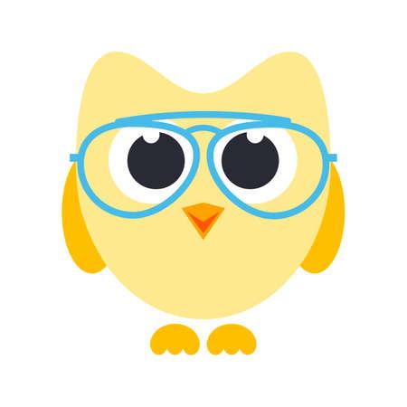 uil van het beeldverhaal met een bril Stock Illustratie