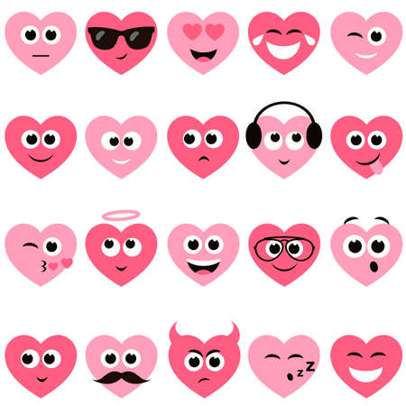 grimace: red and pink hearts with smiley faces Illustration