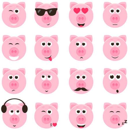 pig smiley faces set Ilustracja