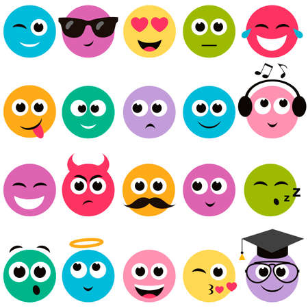 smiley: colorful smiley faces set Illustration