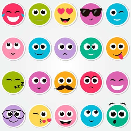 scheming: colorful smiley faces stickers set