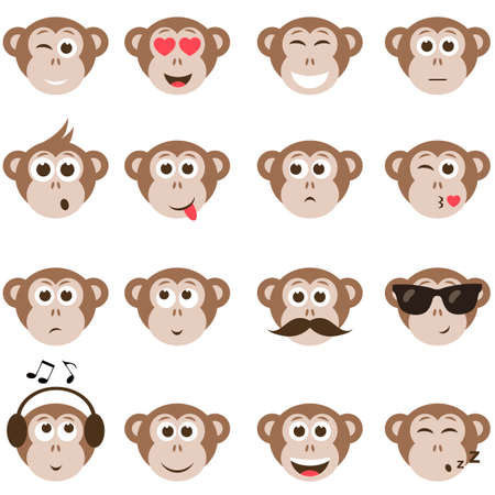 Affe Smiley-Gesichter gesetzt Standard-Bild - 59726173