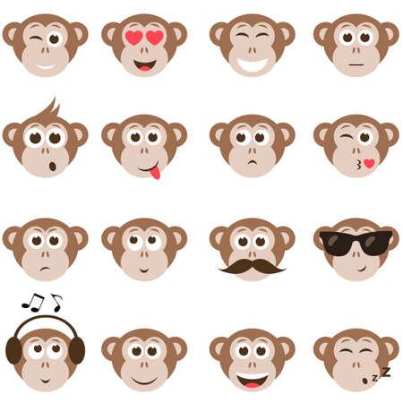 monkey smiley faces set
