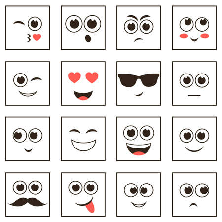 scheming: set of square smiley faces