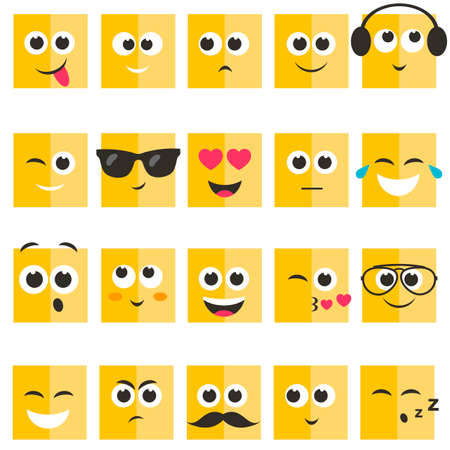scheming: Emotional square yellow faces set Illustration