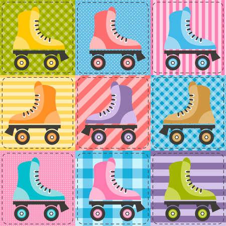 patchwork background: patchwork background with colorful roller skates