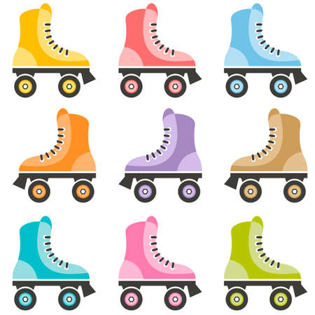 roller skate: colorful roller skate set