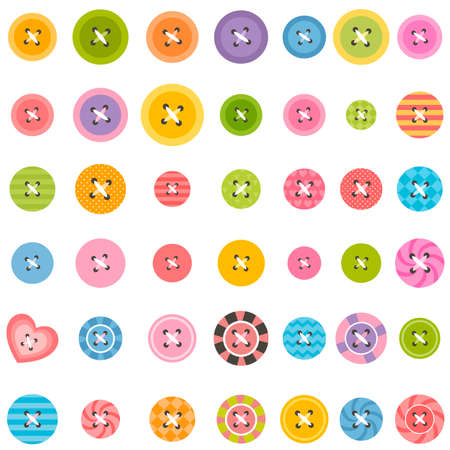 sewing buttons: big set of colorful sewing buttons Illustration