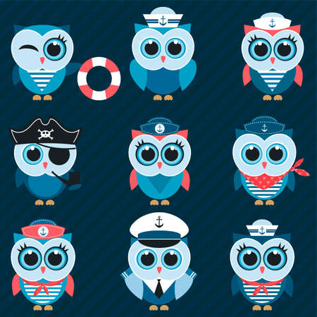 pirate crew: sailor owls and owlets Stock Photo
