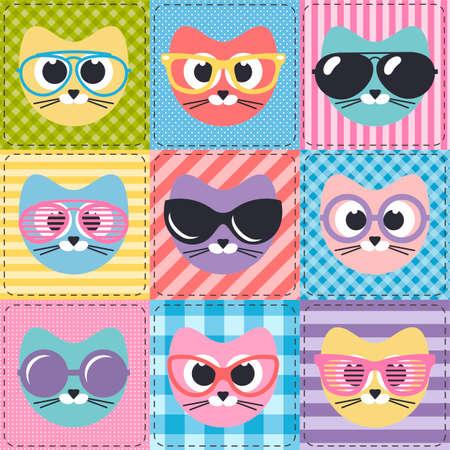 patchwork background: patchwork background with cats and sunglasses