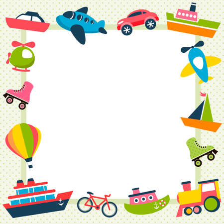 frame with colorful transport icons Illustration