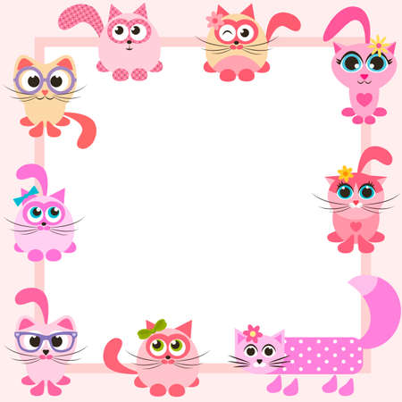 cat's eye glasses: frame with funny colorful cats Illustration