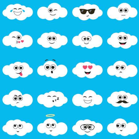 white clouds: white clouds with smiley faces