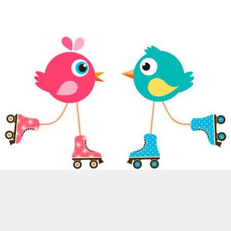 pájaros en patines