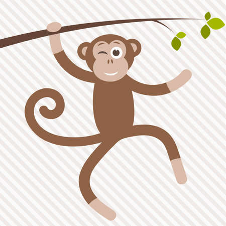 funny monkey hanging on the tree