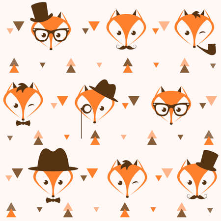Pattern with hipster foxes and triangles