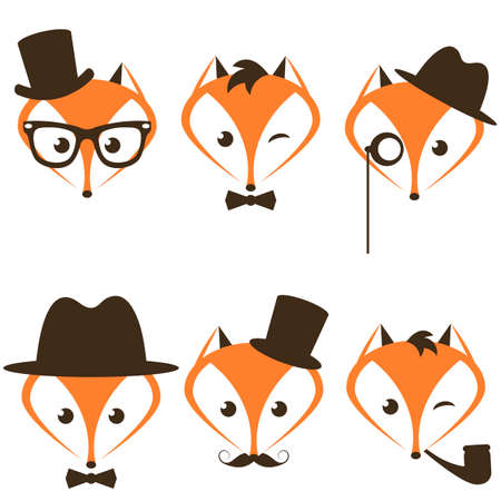 hipster fox icons set