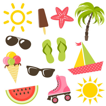 watermelon boat: Set of summer icons
