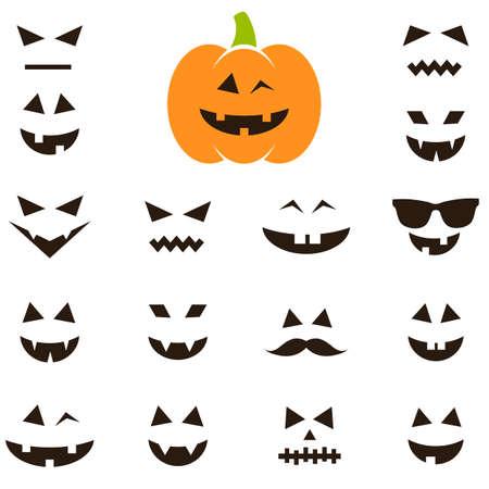 Set von Gesichtern für Halloween-Kürbis