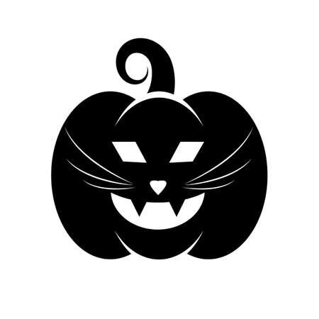 Icona nera di zucca di Halloween cat