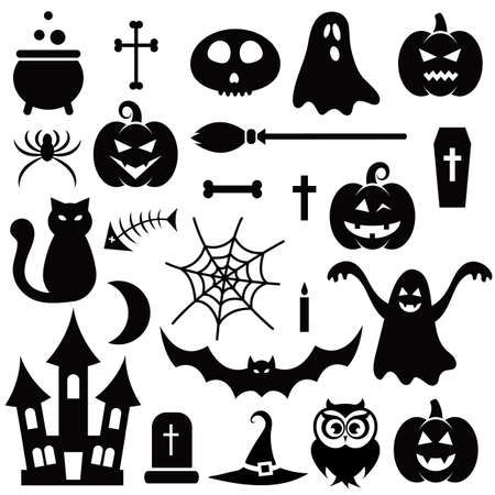 monsters house: Halloween icons isolated on white