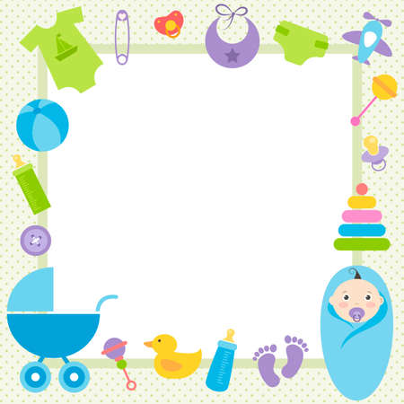 stuff toys: green frame with baby boy elements