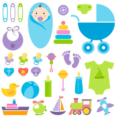 sweet stuff: set of baby boy elements Illustration