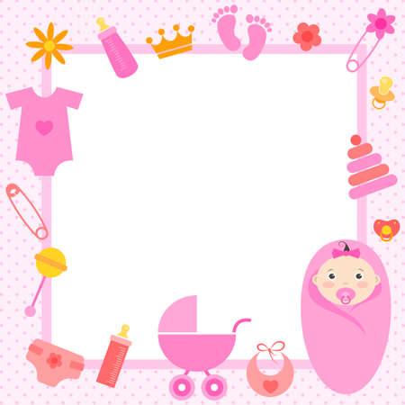marco de color rosa con elementos de la niña Vectores