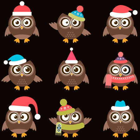christmas winter: Cute brown owls with hats