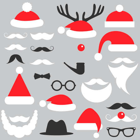 Santa Claus hats, beard and mustache set Ilustração