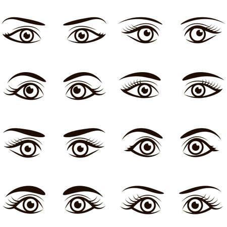 Conjunto de iconos negros de ojos y cejas Ilustración de vector