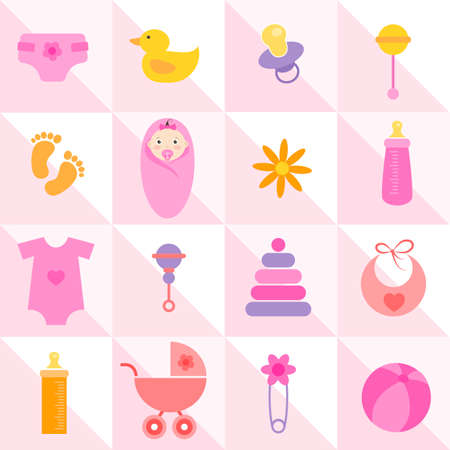 pink background with cute baby girl elements Illustration