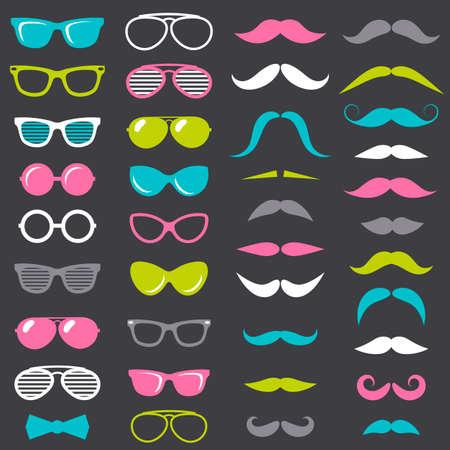 hipster mustache and glasses set Illustration