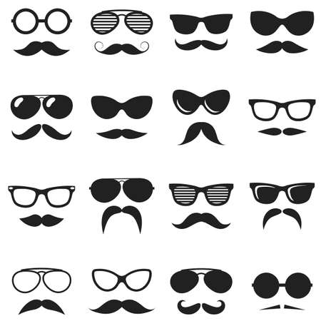 Set of black hipster mustache and glasses