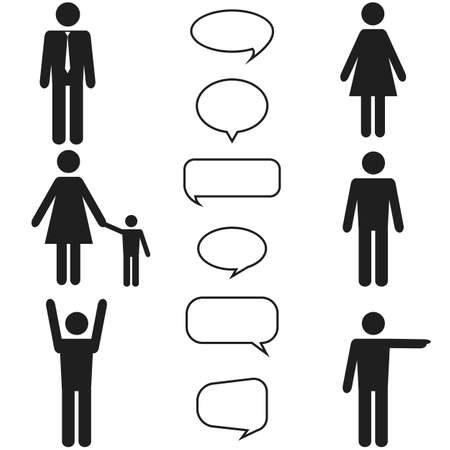 black people: people black icons and speech bubbles set