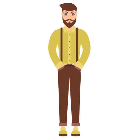 cute cartoon hipster man isolated on white Illustration
