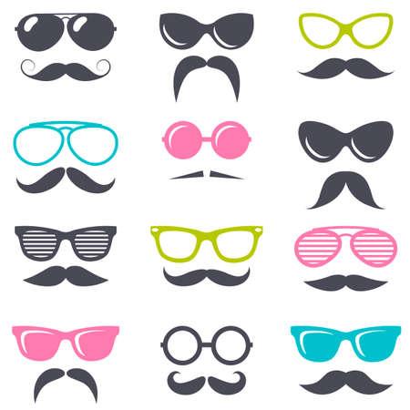 cartoon retro sunglasses and mustache