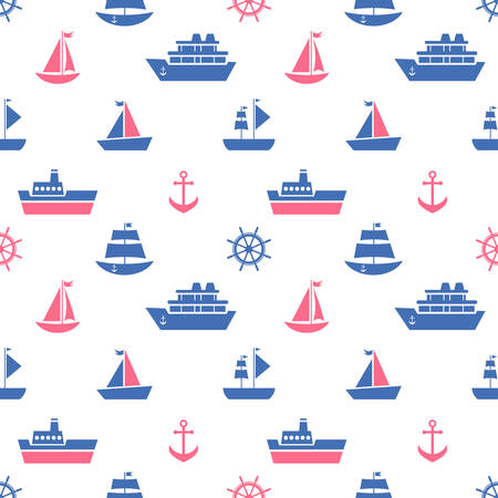 Seamless pattern with blue and red sea transport icons Illustration