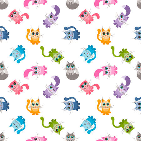 seamless pattern with cute colorful cartoon cats