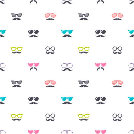 Pattern with colorful glasses and mustache