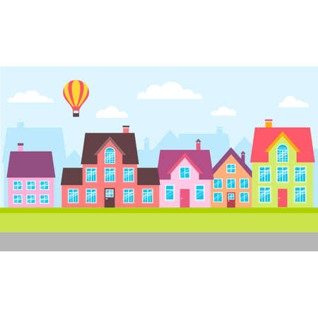 side border: Set of colorful houses in a town Illustration