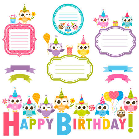 Frames With Owls For Birthday Card Royalty Free Cliparts Vectors