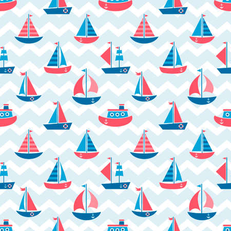 Seamless pattern with boats.