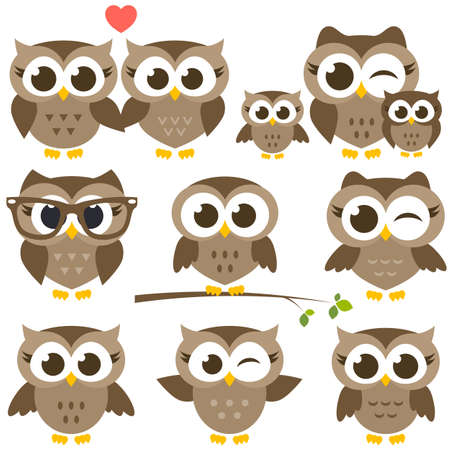 Set of cute brown owls.
