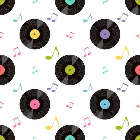Pattern with colorful music notes and vinil records