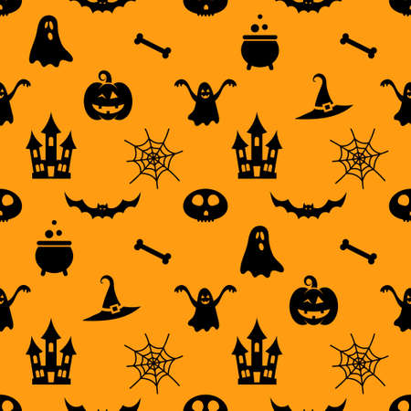 haunt: Seamless pattern with different black Halloween icons