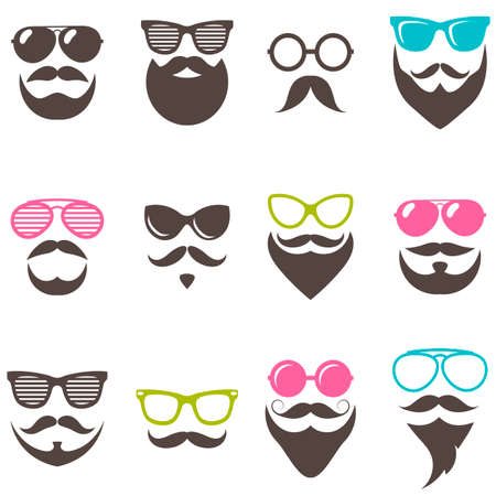 Set of colorful sunglasses, beards and mustaches Illustration