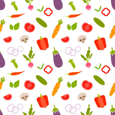 seamless pattern with vegetables on white background Illustration