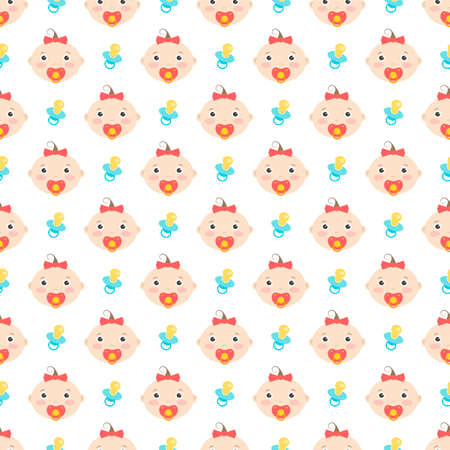 seamless pattern with cute baby girl and pacifier Illustration