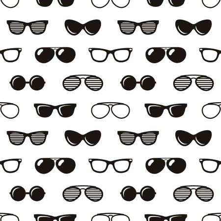 seamless pattern with sunglasses on white background Illustration